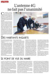 Les Médias s'en mêle, La Dépêche du Midi ce 14 décembre annonce le refus des habitants pour l'implantation d'une antenne 4G.
